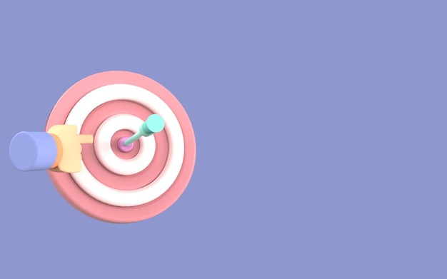 Simbolo di design freccia bordo bersaglio carino illustrazione strategia affari rendering 3d