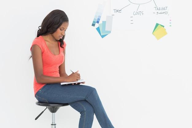 Designer seduto e scritto davanti alla lavagna