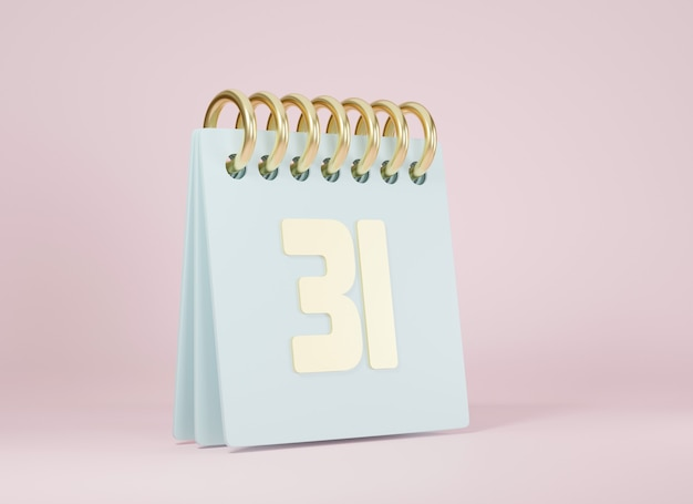 Calendario desktop contro con l'illustrazione della rappresentazione 3d dell'anno numero 31 dell'ultimo giorno