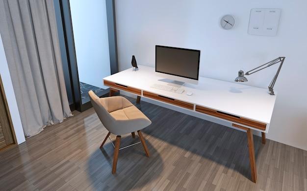 Desktop con pc. tavolo da lavoro con piano bianco e gambe marroni. rendering 3d