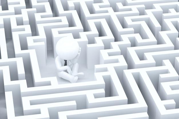 Un uomo d'affari disperato in un labirinto