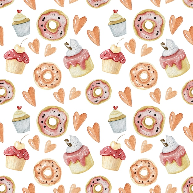 Dolci e consistenza alimentare in colore rosa. modelli senza cuciture di dessert dolci