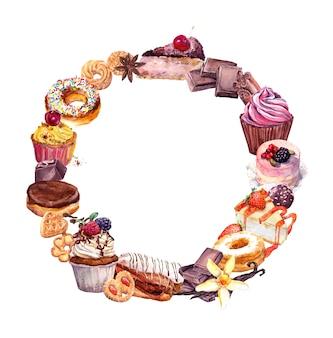 Struttura dell'acquerello disegnato a mano di dolci e dolci.