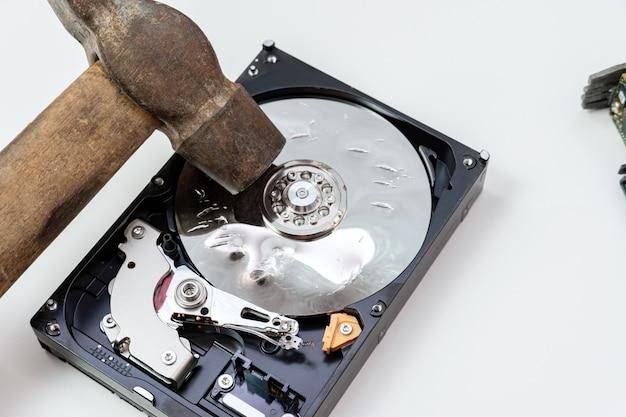 Distruzione, cancellazione di dati, informazioni su un disco rigido con martello