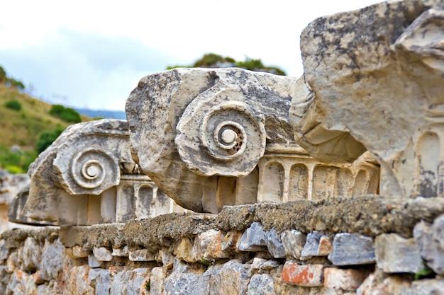 Dettaglio delle antiche rovine di efeso, turchia