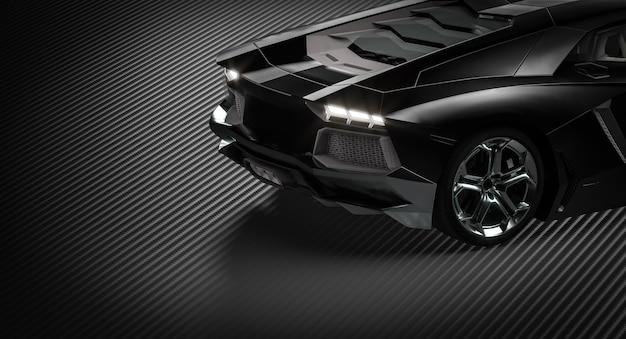 Dettaglio di una supercar nera su fondo in fibra di carbonio. rendering 3d.