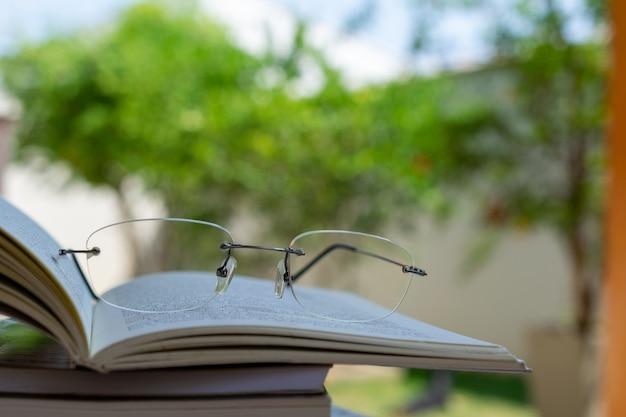 Particolare del libro e dei bicchieri per la lettura, con verde natura sfocata. concetto di lettura all'aperto per rilassarsi.