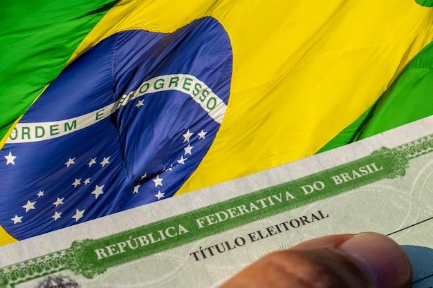 Particolare del titolo dell'elettore brasiliano, titolo elettorale. giustizia elettorale. 2022, elezioni in brasile