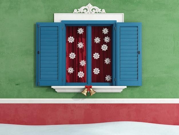 Particolare di finestre chiuse con decorazioni natalizie. rendering 3d
