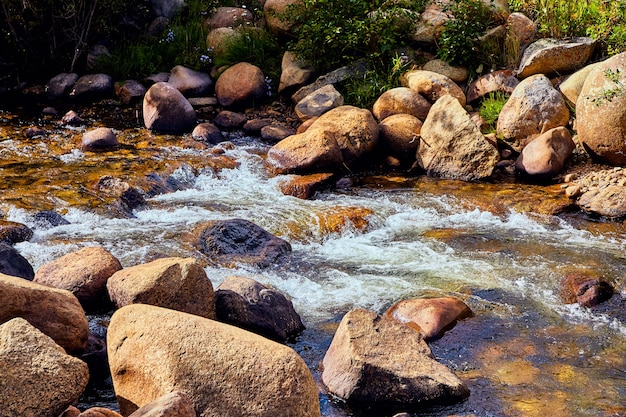 Particolare dell'acqua del torrente che scorre sui massi