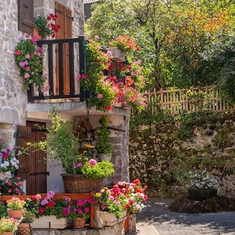 Dettaglio della casa con fiori a montrol - senard, limousin, francia. messa a fuoco selettiva sulla casa (1x1)