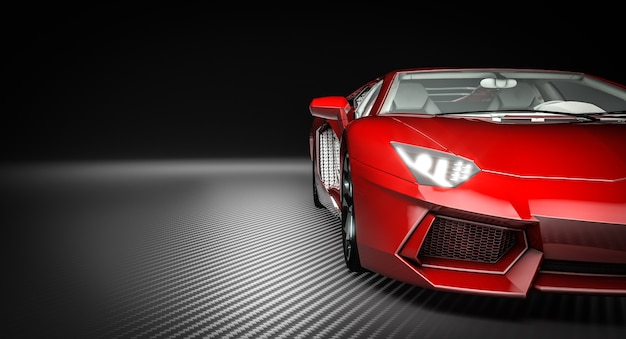 Dettaglio di una supercar rossa su uno sfondo di fibra di carbonio. rendering 3d.