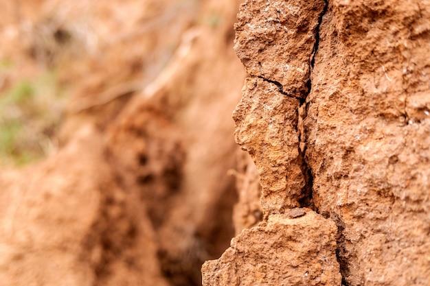 Dettaglio e consistenza della terra di un pendio con crepe.
