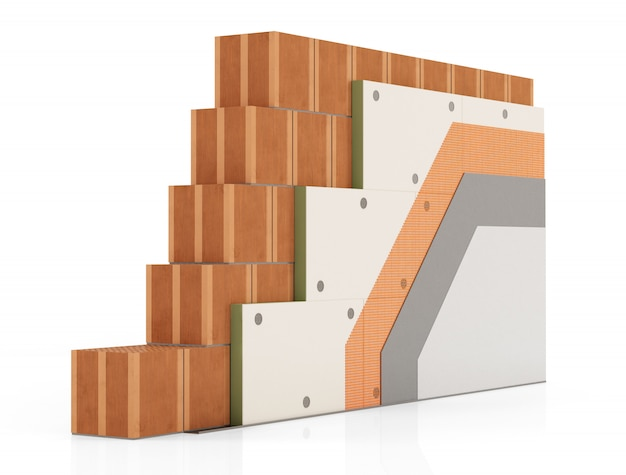 Dettaglio dell'isolamento termico di un muro di mattoni
