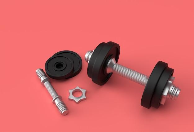 Vista ravvicinata dettagliata elemento sportivo isolato del design con manubri fitness.