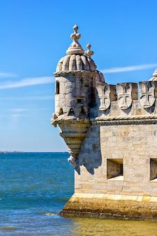 Dettagli della torre di belem, lisbona, portogallo