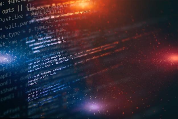Codice di programmazione per sviluppatori. codice di script di computer astratto. schermata del codice di programmazione dello sviluppatore del software. tempo di lavoro di programmazione del software.