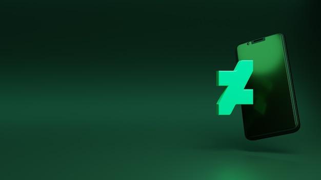 Icona di deviantart sul rendering 3d dello smartphone