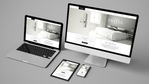 Raccolta di dispositivi isolata che mostra il rendering 3d del sito web del grand hotel