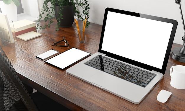 Mockup di dispositivi sul desktop in legno