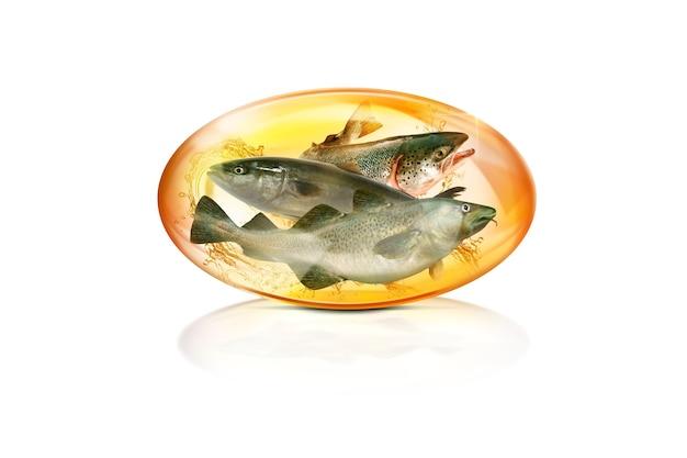 Dha concetto di capsule di vitamina