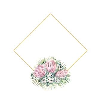 Cornice in oro a forma di diamante con fiori di protea, foglie tropicali, foglie di palma, fiori di bouvardia