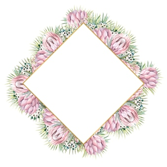Montatura in oro a forma di diamante con fiori protea