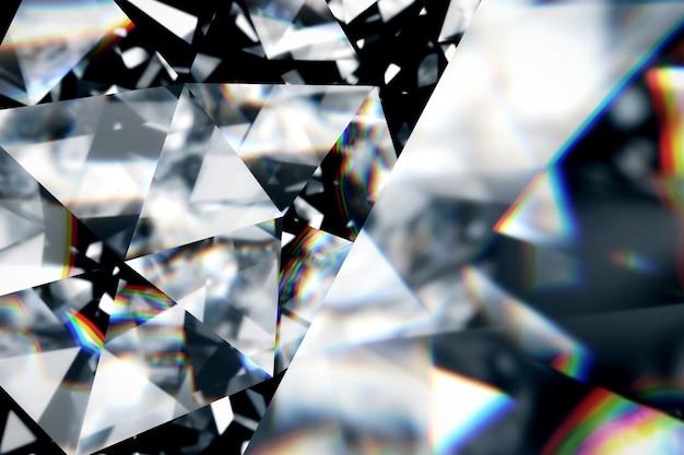 Diamante con struttura alta vicina della caustica, illustrazione 3d.