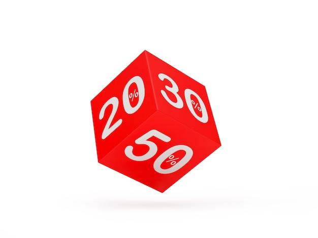 Dadi con sconti di 20 e 30 e 50 percentuali