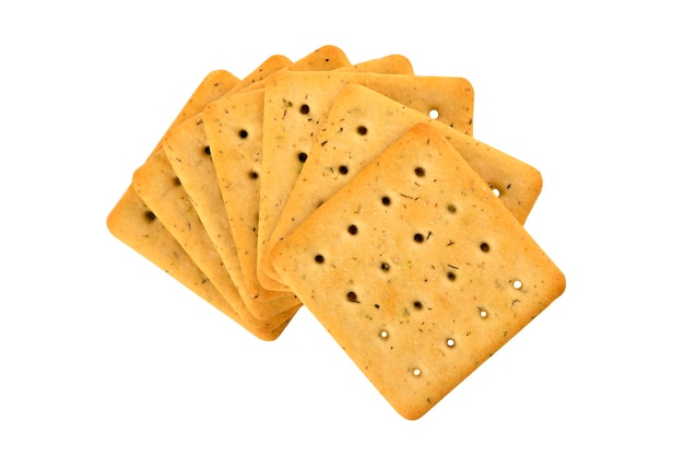 Biscotti quadrati dietetici con verdure isolate