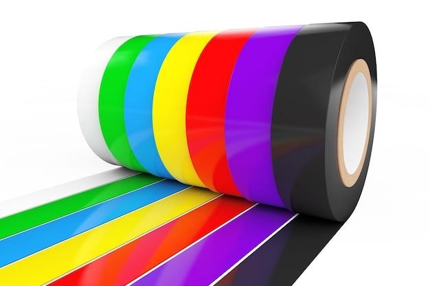 Nastro isolante adesivo colorato diverso su sfondo bianco. rendering 3d.
