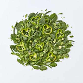 Diverse verdure verdi broccoli, spinaci, cavolini di bruxelles, asparagi, foglie di menta, fette di cetriolo e pepe su uno sfondo grigio con spazio per il testo. concetto di cibo sano. lay piatto