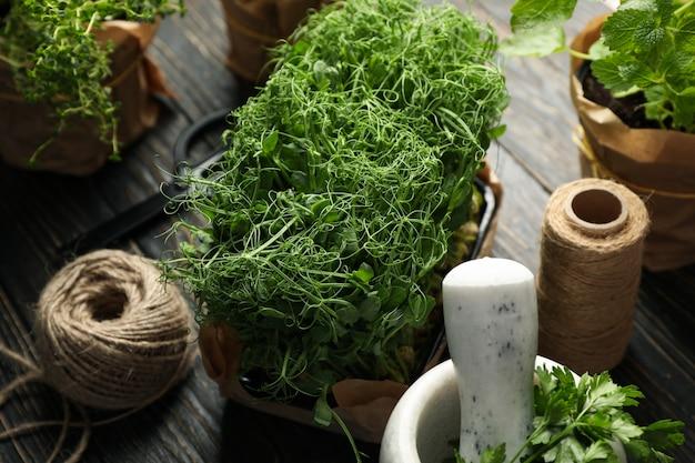 Diverse erbe, spago di iuta, forbici e mortaio su fondo in legno