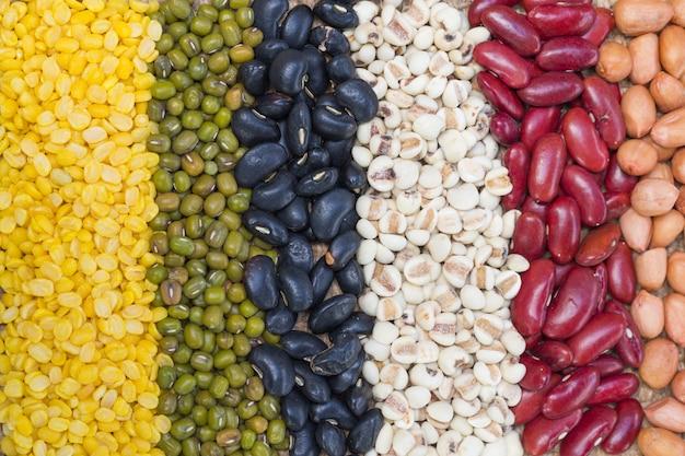 Diversi tipi di semi di fagioli