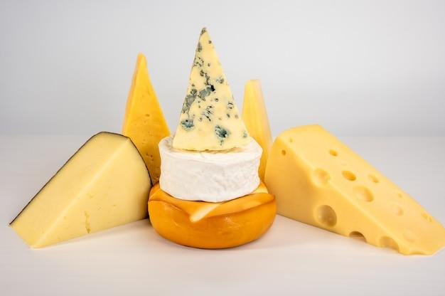 Diversi tipi di delizioso formaggio su sfondo bianco. gorgonzola dorblu, suluguni affumicato, brie, maasdam, cheddar, parmigiano.