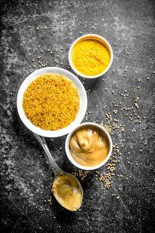 Diversi tipi di senape con un cucchiaio. su rustico scuro