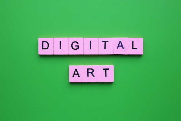 Arte digitale, su sfondo verde