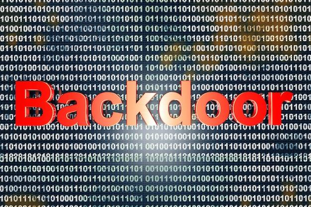 Una backdoor digitale, una porta vulnerabile per un attacco di hakers.