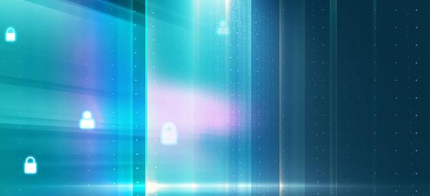 Sfondo digitale con schermo trasparente e icone di blocco