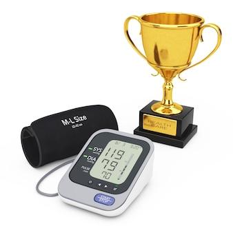 Sfigmomanometro digitale con bracciale e trofeo d'oro su sfondo bianco. rendering 3d.
