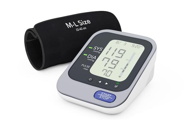 Digital blood pressure monitor con bracciale su uno sfondo bianco. rendering 3d.