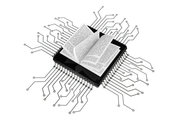 Concetto di libro digitale. prenota su microchip con circuito su sfondo bianco