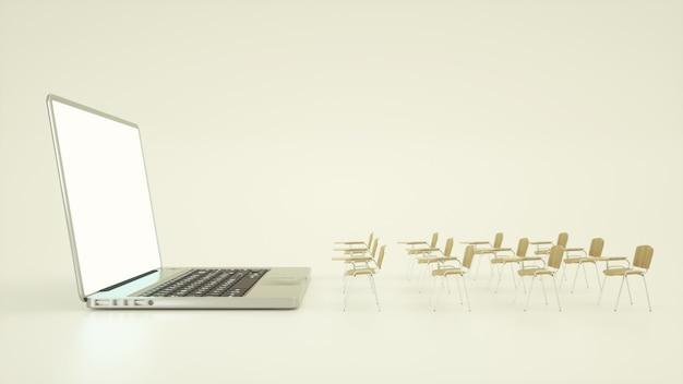 Concetto di educazione online in aula digitale Foto Premium