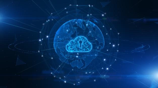 Digital cloud computing della sicurezza informatica, protezione della rete dati digitale