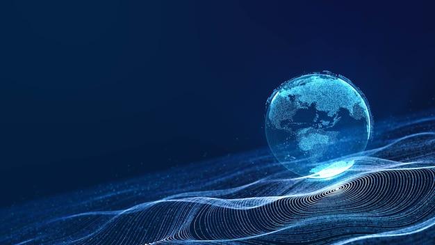 Terra di nuvola digitale che galleggia sulla griglia del cerchio di dati al neon nell'onda di particelle del cyberspazio, astratto 3d che rende lo sfondo dell'illustrazione di tecnologia futuristica moderna, connettività mondiale dell'era digitale
