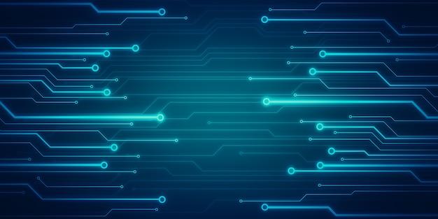 Immagine di concetto digitale con microchip circuito incandescente sulla parete blu. processore.