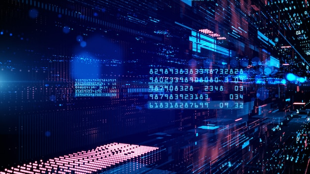 Cyberspace digitale e connessioni alla rete dati Foto Premium