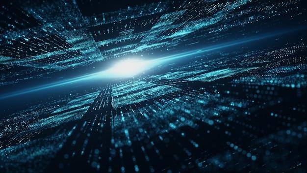 Sfondo di cyberspazio e particelle digitali