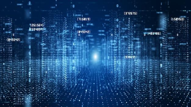 Cyberspace digitale con particelle e concetto di connessioni di rete di dati digitali.