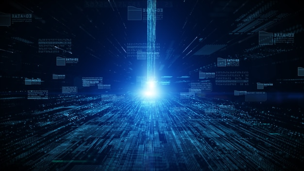 Cyberspazio digitale con particelle e connessioni di rete dati digitali